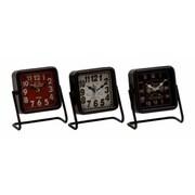 Benzara  Artistic Metal Square Table Clock, Set of 3 Assorted (BNZ6902)