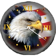Morco  10 in. Bald Eagle With American Flag Slate Clock (HTAM004)
