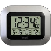 La Crosse Technology  Atomic Digital Wall Clock with Temp and Date-Silver (LA725)