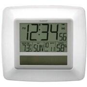 La Crosse Technology  Solar Atomic Digital Wall Clock With Indoor Temp-Humidity-White (LA748)