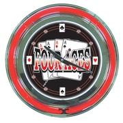 Four Aces Neon Clock - 14 inch Diameter (POKER6179)