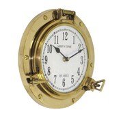 EcWorld Enterprises  Aged Brass Porthole Wall Clock - Gold (RTL355933)