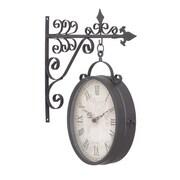 Benzara  17 in. H x 14 in. W Metal Outdoor Double Clock (WLMGC2942)