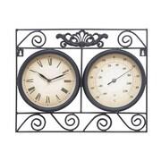 Benzara  17 in. W x 14 in. H Metal Outdoor Clock Thermometers (WLMGC2945)