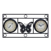 Woodland Import  Clock Thermometer with Bold Metal Butterfly Motif (WLMGC6430)