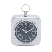 Woodland Import  Nickel Plated Table Clock with Modern Detailing (WLMGC6614)