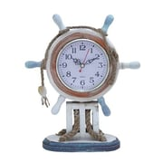 Woodland Import  Wood Clock in Nautical Theme with Sailor Wheel Frame (WLMGC6699)