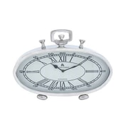 Woodland Import  Nickel Plated Table Clock with Roman Numerals (WLMGC7274)