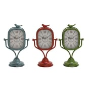 Woodland  Metal Table Clock Assorted Set of Three with Vibrant Colors of Blue, Red and Green (WLMGC8523)