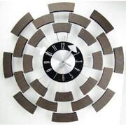 "World Friendly World  19"" Wooden Wheel Clock in Mid Century Modern Style (WRFW056)"