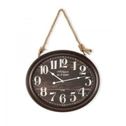 Yosemite Home Decor  Circular MDF Wall Clock With Rope - Black (YSMT95266)