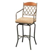 Impacterra Napa Ridge Bronze 30'' Swivel Bar Stool w/ Arms in Toffee Fabric