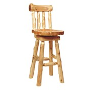 Fireside Lodge Traditional Cedar Log 24'' Swivel Bar Stool