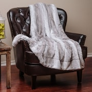 Chanasya Super Soft Cozy Falling Leafe Pattern Creme White Gray Fuzzy Fur Warm Throw Blanket