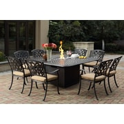 Darlee Ocean View 9 Piece Dining Set w/ Firepit and Cushion