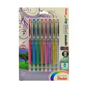 Pentel Slicci Extra Fine Metallic Gel Pens Assorted Pack Of 8 (BG208BP8M)