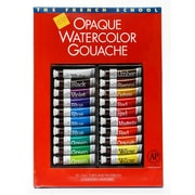 Savoir-Faire The French School Opaque Watercolor Gouache Tube Sets Set Of 20 In Case With Brush (31309)