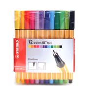 Stabilo Point 88 Pen Sets Mini Wallet Set Set Of 12 [Pack Of 2] (2PK-688-12-1)