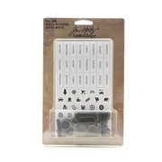 Tim Holtz Idea-Ology Findings File Tabs Pack Of 16 Tabs With 57 Stickers And 57 Epoxy Stickers [Pack Of 2] (2PK-TH93001)