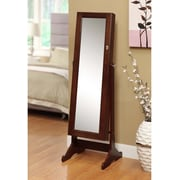 FamisCorp Premium Cheval Mirror Jewelry Armoire w/ Mirror; Cherry