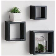 FamisCorp Premium 3 Piece Modern Home Square Cube Wall Shelf Set; Black