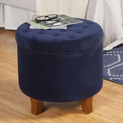 HomePop Storage Ottoman; Ink Navy