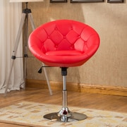 Roundhill Furniture Noas Contemporary Tufted Back Tilt Swivel Barrel Chair; Red
