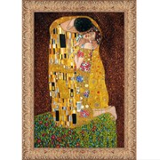 Tori Home 'The Kiss Full View' by Gustav Klimt Framed Original Painting on Wrapped Canvas
