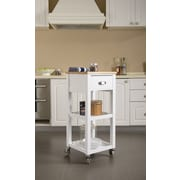 Homestar Kitchen Cart with Natural Rubberwood Top; White