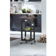 Homestar Kitchen Cart with Natural Rubberwood Top; Black