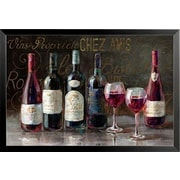 Buy Art For Less 'Bistro Reds - Wine Glass and Bottles' by Danhui Nai Framed Painting Print