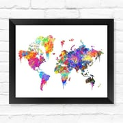 Dignovel Studios World Map Contemporary Watercolor Framed Graphic Art; 12'' H x 15'' W x 1'' D