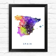 Dignovel Studios Spain Map World Map Watercolor Framed Graphic Art; 15'' H x 12'' W x 1'' D