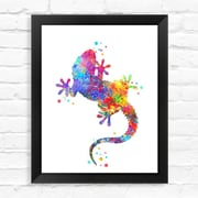 Dignovel Studios Wall Gecko Contemporary Watercolor Framed Graphic Art; 15'' H x 12'' W x 1'' D