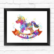 Dignovel Studios Horse toys Contemporary Watercolor Framed Graphic Art; 12'' H x 15'' W x 1'' D