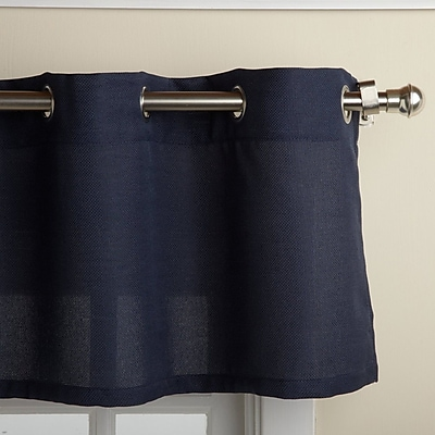 Sweet Home Collection Jackson Textured Solid Kitchen 60'' Curtain Valance; Navy WYF078278168173