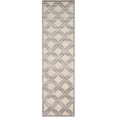 Nourison Graphic Illusions Ivory Geometric Area Rug; Runner 2'3'' x 8'