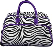 World Traveler Zebra 21'' 2 Wheeled Duffel; Dark Purple
