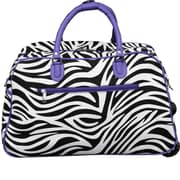 World Traveler Zebra 21'' 2 Wheeled Duffel; Light Purple
