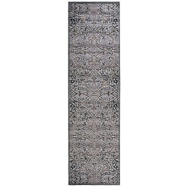 Nourison Graphic Illusions Black/Gray Geometric Area Rug; Runner 2'3'' x 8'