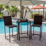 AZ Patio Heaters Wicker 3 Piece Bar Set; Dark Brown