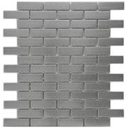 EliteTile Metallic 0.75'' x 2.5'' Stainless Steel Over Ceramic Mosaic Tile in Silver
