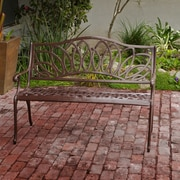 Home Loft Concepts Ramsey Spiral Cast Aluminum Outdoor Bench; Brown