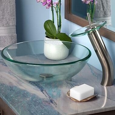 Novatto Bonificare Glass Vessel Bathroom Sink Set; Brushed Nickel