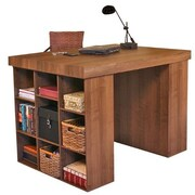 Venture Horizon Project Center 38.5'' H x 55'' W Desk w/ 2 Bookcases; Dark Walnut