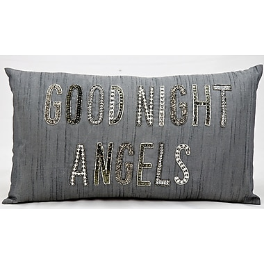 Kathy Ireland Home Gallery Good Night Angels Lumbar Pillow in Silver & Gray