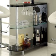 Hokku Designs Holla Lacquer Bar with Wine Storage; Black