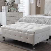 Wholesale Interiors Baxton Studio Brighton Upholstered Bedroom Bench; White