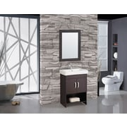 MTDVanities Greece 24'' Single Sink Bathroom Vanity Set with Mirror; Espresso