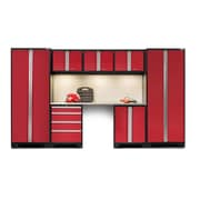 NewAge Products Bold 3.0 Series 8 Piece Garage Storage Cabinet Set w/ Worktop; Red